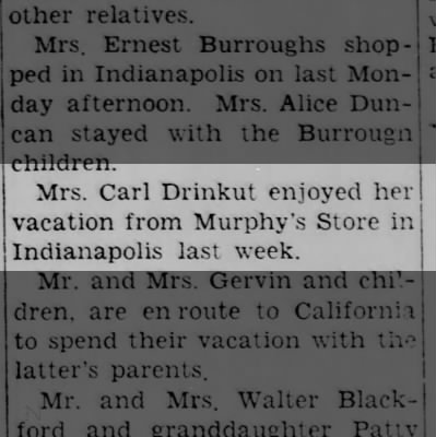 Lois Drinkut? vacation 7/4/1950 Daily Reporter