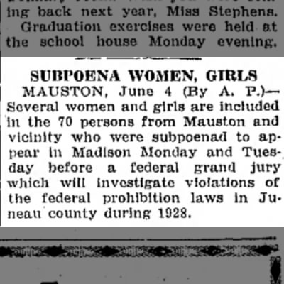70 Subpoenad in Juneau County Prohibition Probe - 1929
