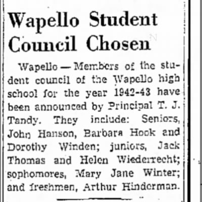 1942 (14) Wepello Muscatine News Tribune 12.26.1942