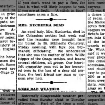 Possible death notice of Anne RIpper mother named Mrs. Kucherka. Date 1938-02-25.