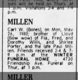 "Death Notice 2 of Carl W Millen ""Bones"" 28 May 1980"