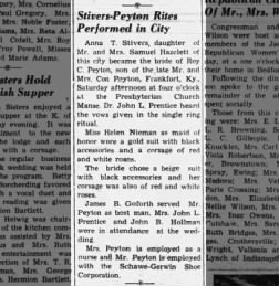 Stivers - Peyton marriage, The Tribune, Seymour, Indiana, 22 Oct 1946, pg 5
