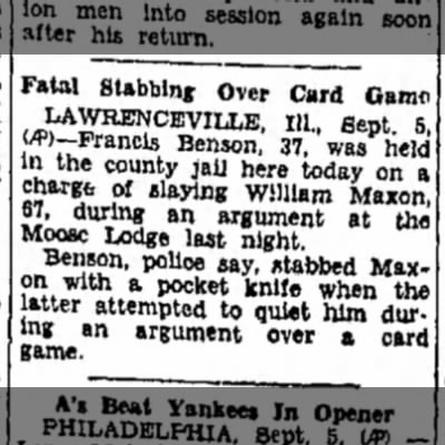 Fatal Stabbing Over Card Game at the Moose Lodge in Lawrenceville Illinois - 1933