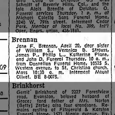 Jane Brennan Obituary, 1965