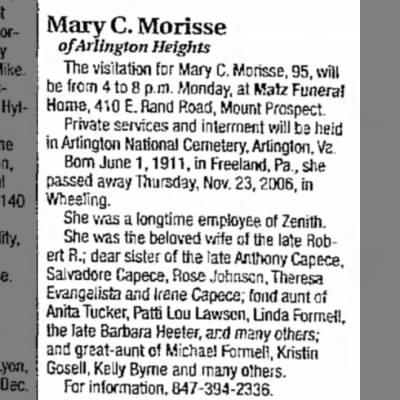Mary Capece Morisse obituary