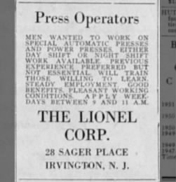 Old Lionel employment ad from 1952.