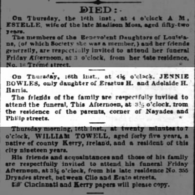 death of Jennie Bowles Harris