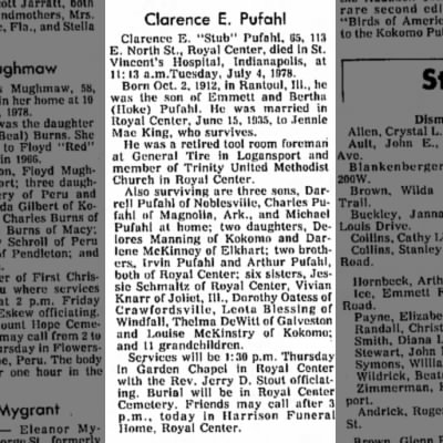 Clarence Pufahl Obit 1978