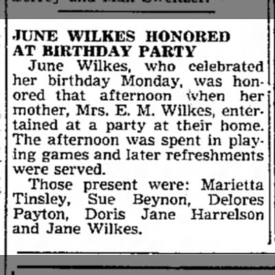 Junes Wilkes Birthday Party