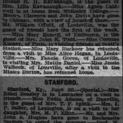 Shelbyville 1893 news.  Mrs. Fannie (Russell) Goose of Louisville visiting.