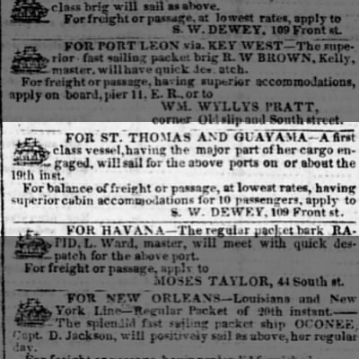 Guayama trade vessel sailing Dec 1841