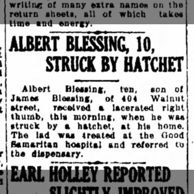 Albert Blessing injured-Lebanon Daily News-p.3-19 Sep 1931