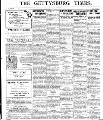 The Gettysburg Times from Gettysburg, Pennsylvania on September 23, 1913 · Page 1