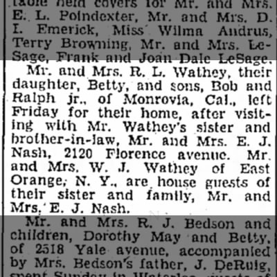 Ralph L Wathey and family