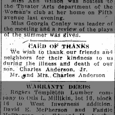 Card of Thanks - Charles Jr Anderson - 29 Sept 1925