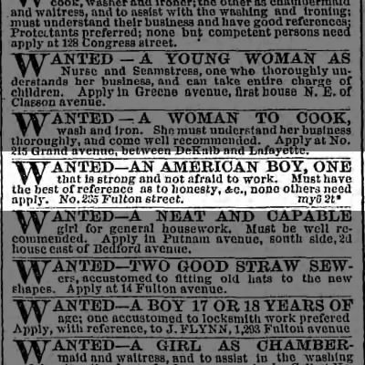 Wanted--An American Boy, New York 1867