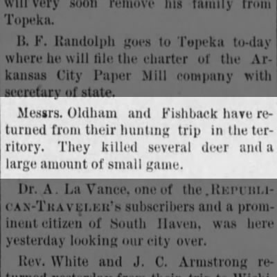 J W Oldham - Hunting Trip in the territory with Mr. Fishback 1887
