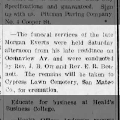 Morgan Everts funeral