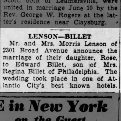 Rose Lenson to Wed- 19 June 1934