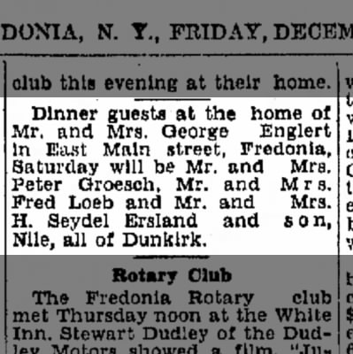 Dinner Guests at the home of M/M George Englert  31 Dec 1948