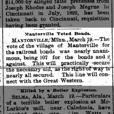 Mantorville votes for railroad bonds