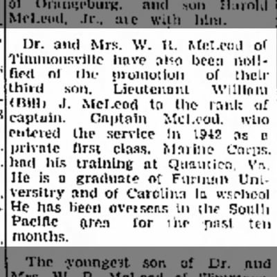 Military promotion for William J McLeod