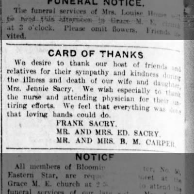 Card of Thanks Jennie Sacry death
