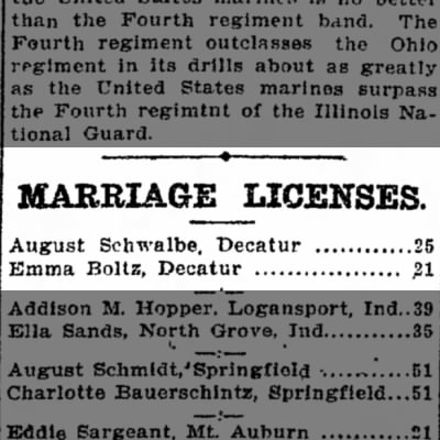 Marriage License of Emma Boltz
