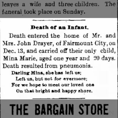 Mina Marie Drayer Death Notice