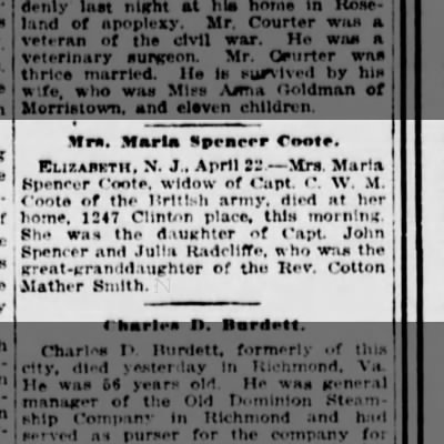 Maria Spencer Coote,  death Elizabeth, N.J. 1247 Clinton Place.  23 Apr 1916.  NY,NY The Sun