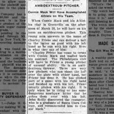 Charley Friene - Ambidextrous Pitcher for Athletics in 1910
