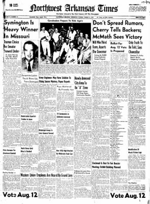 Northwest Arkansas Times from Fayetteville, Arkansas on August 6, 1952 · Page 1