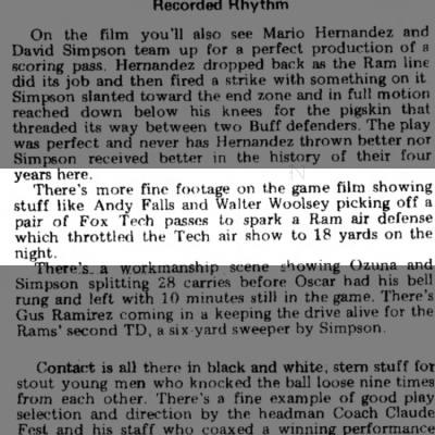 Andy Falls, high school football, Nov 1973