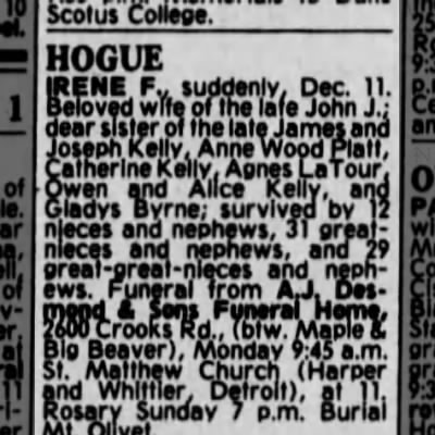 Irene Kelly Houge, daughter of Owen Kelly and Cathetine Rudden. 13 Dec 1981. Detroit Free Press.